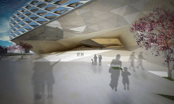 Busan Opera House competition, South Korea, Asia, architectural competition, IwamotoScott Architecture, parametric design, Trifold Madang, cultural facility, outdoor courtyards