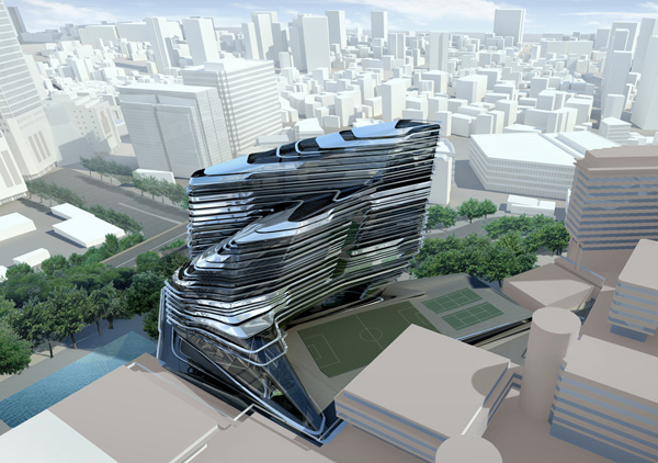 Zaha Hadid Architects, Zaha Hadid, fluid architecture, Hong Kong, Innovation Tower, Hong Kong Polytechnic University, tower, high-rise, seamless fluidity,China