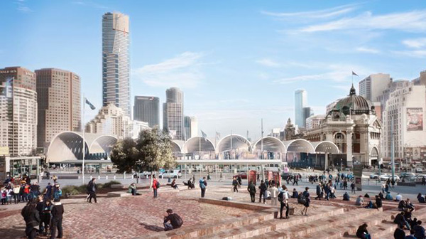 Flinders Street Station Design Competition, Herzog & De Meuron, architectural competition, vaults, Yarra River, short list, urban plaza, iconic design, monumental architecture, contextual architecture