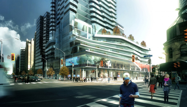 Toronto, Ontario, Canada, One Bloor Street, mixed-use, tower, high-rise, retail, curved balconies, Hariri Pontarini Architects