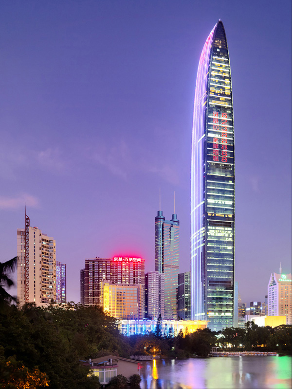 KK100, TFP Farrells, Shenzhen, China, mixed-use, tower, high-rise, slender silhouette, dense development, Shenzhen master plan