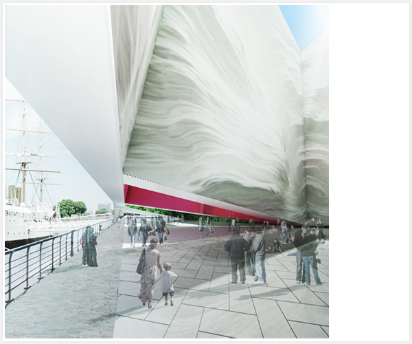 Batay-Csorba Architects, Buenos Aires, Argentina, New Contemporary Art Museum, museum design, mirror façade, contextual, flexible space, big scale installations, Puerto Madero, waterfront