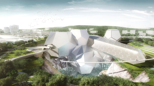Crystal World, Asymptote Architecture, Hani Rashid, Lise Anne Couture, Changsha EcoTech Resort City, suspended assembly, dynamic, architectural attraction, Changsha, China