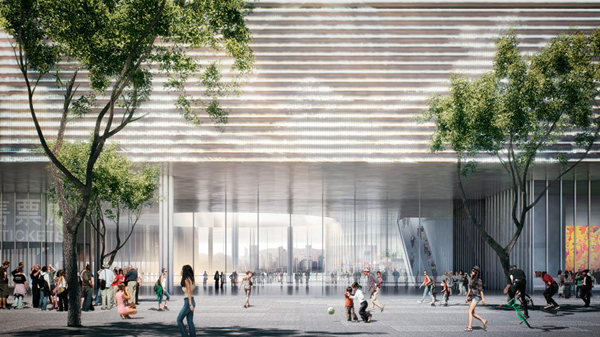 Herzorg & de Meuron, Hong Kong, China, architectural competition, M+, art platform, T shape, transparency, bold design, landmark architecture, landmark, Hong Kong skyline