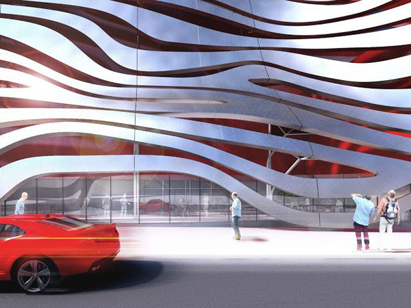 Los Angeles, California, US, Petersen Automotive Museum, Kohn Pedersen Fox Associates, metal ribbons, metal cladding, organic structure, museum design, museum, the miracle mile