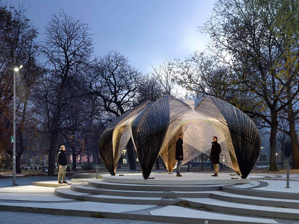 Institute for Computational Design (ICD), Institute of Building Structures and Structural Design (ITKE), University of Stuttgart, robotically fabricated, carbon fibers, glass fibers, digital fabrication, lightweight materials, pavilion design, shell structure