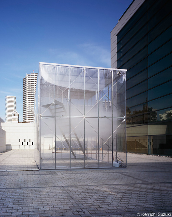 Tetsuo Kondo Architects, Tokyo, Transsolar, Matthias Schuler, Japan, Sunken Garden, Museum of Contemporary Art, cube, container, glass curtain, cloudscapes, controlled humidity, controlled environment, artificial weather