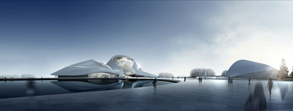 MAD Architects, Ma Yansong, architectural competition, first prize, Harbin, China, cultural center, Harbin Cultural Center, glacier, contextual