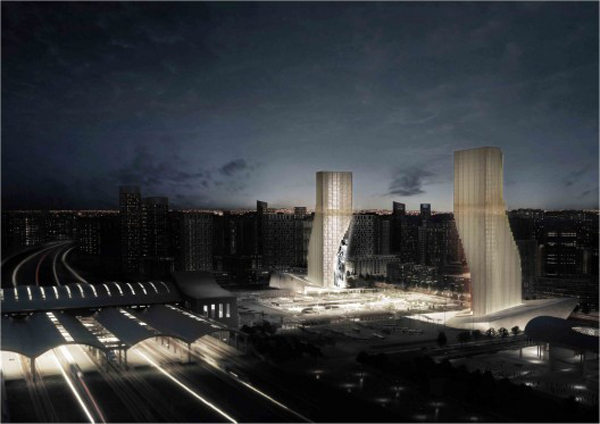 Spatial Practice, Harbin, China, Twin Towers, gateway, frame, digital gate, Office, Residential, Retail, Parking, Landscape, climate conditions, artificial climate, sustainable design, eco design