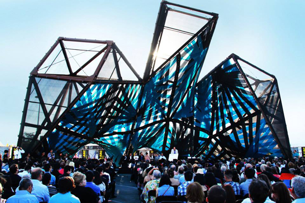 SCI-Arc, Los Angeles, graduation pavilion, first prize, winning entry, temporary venue, temporary pavilion, P-A-T-T-E-R-N-S, California, US