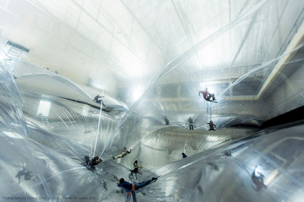 Tomas Saraceno, Milan, Italy, Argentina, Bicocca Hangar, Hangar, MIT, nylon, on space time foam, installation, suspended, cables, colossal