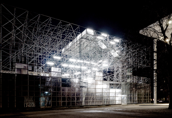 Temporary, temporary exhibition, scaffolding, J.Majer H., J.Majer H.Architects, Pinakothek der Moderne, Munich, platform, exhibition space, Germany, cantilever