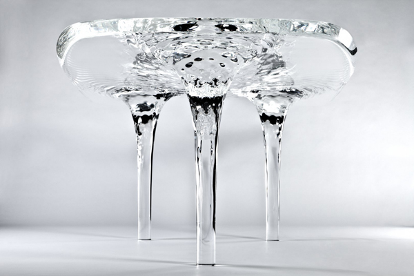 Organic design, computational design, digital fabrication, amorphous design, polished, Plexiglas, zaha hadid, zaha hadid architects, Liquid Glacial table, London, UK, David Gill Galleries