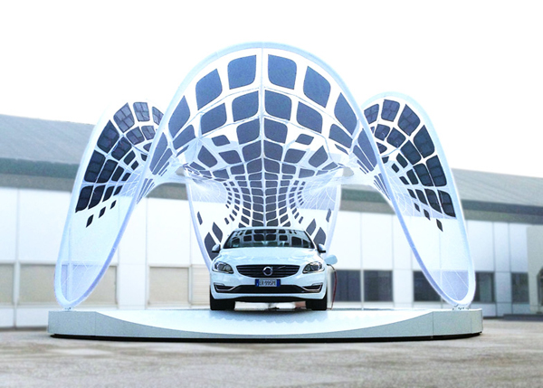 Volvo, SDA, Synthesis Architecture + Design, V60, Frei Otto, tensile structure, sustainable design, sustainability, Italy, membrane structure, membrane, organic form, Buro Happold, Fabric Images