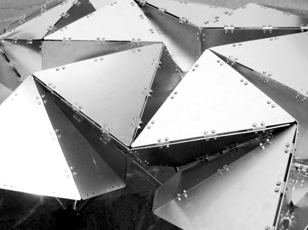 LabStudio, Jenny Sabin, aluminum, triangular structure, responsive surface, deployability, connections, scissor joint