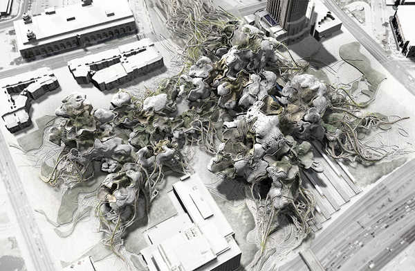 SCI-Arc, Southern California Institute of Architecture, California, Los Angeles, Yong Ha Kim, thesis, award, organic growth, biology, cellular growth, methabolism, biological growth