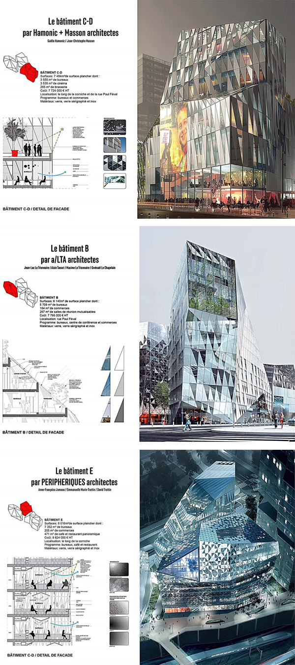 Architectural competition, crystal-like structure, Féval city-block, Cristal Riviera, Périphériques Architectes, a/LTA architects,  Hamonic & Masson, Rennes Railway station, Rennes, france, flexibility