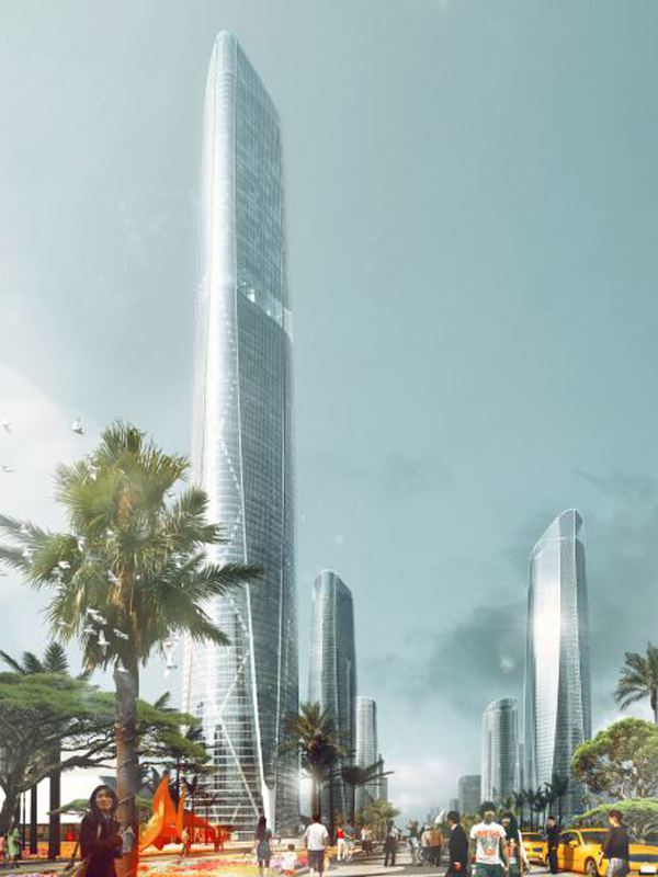 Intelligent façade, smart system, henn, henn architects, tower, high rise, Central Business District, Haikou, Hainan