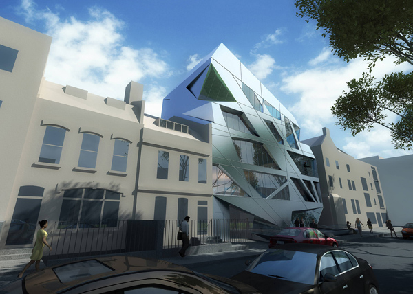 Zaha hadid, zaha hadid architects, London, great Britain, aluminum, prism, shoreditch conservation area, gallery