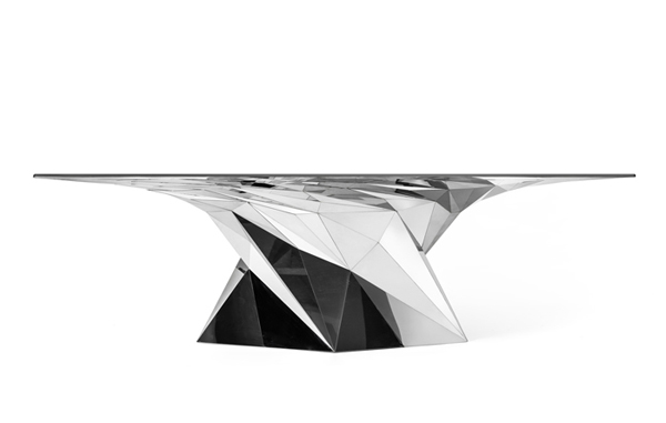 Zhang Zhoujie, digital tornado, central saint martins college, London, great Britain, computational design, digital design, faceted mirror surfaces, mirror, polished, Shanghai, china, Chinese designers