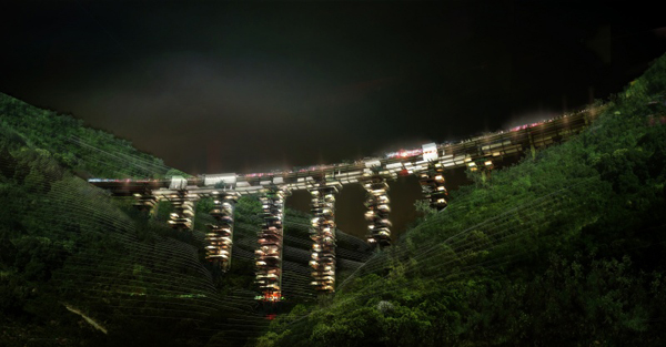 The Vertical Village in Calabria, Italy, by Oxo Architects, in collaboration with OFF, Philippe Rizzotti, Samuel Nageotte and Ramboll UK is a winning competition proposal for a 'Solar Highway', which re-used sections of the Salerno-Reggio Calabria highway soon to be decommissioned by the Italian Highways Authority. The project of a viaduct is ambitious as well as audacious in both its program and architectural form. As they state at Oxo Architects, every consideration on viaduct redevelopment must start with particular attention to the largest sense of its context as well as its components, both visible and invisible. It is of course essential to consider the site potential in order to integrate the project within its landscape. The authors faced two opposite scenarios as the viaducts can be either adapted to integrate in the continuity of Calabria's common society, or on the other hand, they can give a push of motivation for new possibilities that such an atypical redevelopment offers to the region, and developed the second option. The winning architectural team proposed a re-appropriation of the viaducts into residential, leisure and health centers that take on a typology that rises out of the context and the goal of environmentally conscious development. The project was influenced by the primary observable characteristics of the site. The Calabre region has one of the most stable climates in the world and is located in a variety of natural habitats among human interventions. The Vertical Village is designed as an autonomous settlement.