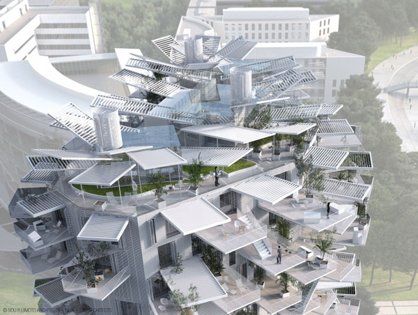 Sou Fujimoto, Nicolas Laisné Associés, Manal Rachdi Oxo Architects, Farshid Moussavi, Montpellier, France, Arbre Blanc, winning proposal, first prize, architectural folly, Richter Tower