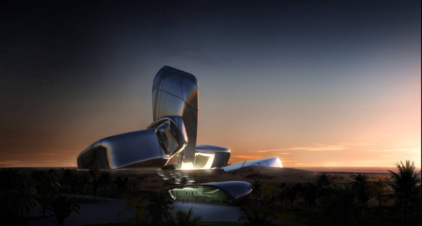 Snøhetta, cultural center, King Abdulaziz Center, auditorium, library, stone, performing arts, cinema