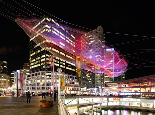 Echelman, large span, installation, fibers, soft fibers, large scale, autodesk, TED Conference, ted, Vancouver Convention Center, Canada, Vancouver, Aaron Koblin, google
