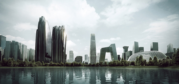 Chaoyang Park Plaza, MAD, MAD Architects, Ma Yansong, Beijing, China, business district, Shanshui City, breaking gound, landscape, LEED