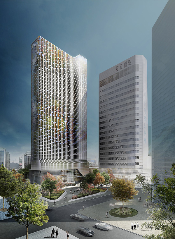 Unstudio, ben van berkel, façade remodeling, pv, solar panels, photovoltaic panels, photovoltaic,  Hanwha, south korea, seoul, korea, architectural competition, first prize