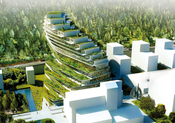 Green design, sustainable design, vertical gardens, school design, Stockholm, Sweden, 3XN Architects, 3XN, greenhouse