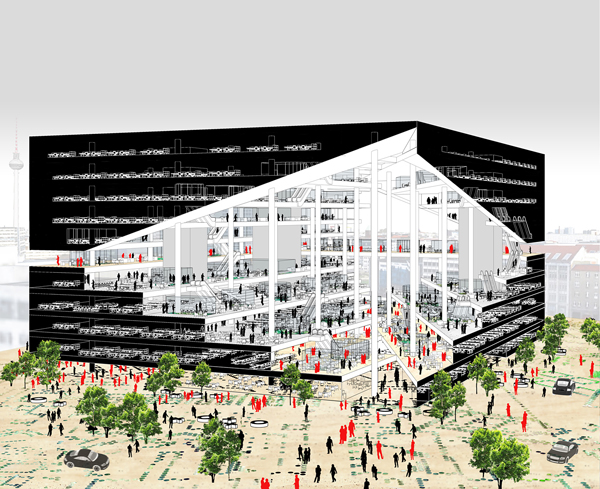 Oma wins competition to design new media center in berlin for Media center plans