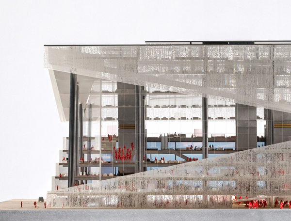 First prize, winning design, competition, architectural competition,  OMA, rem koolhaas, axel springer, berlin, germany, Arup London, arup