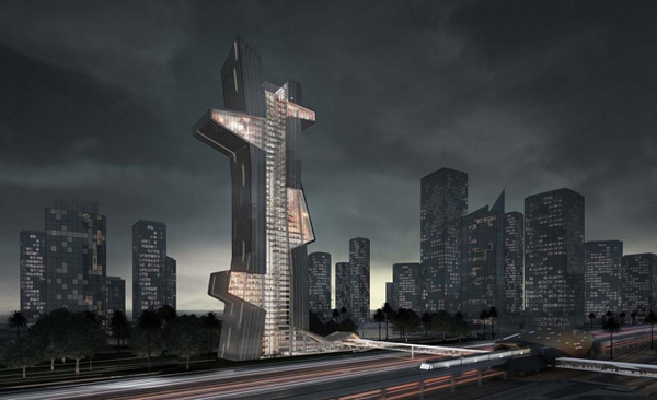 Blue tape, architectural competition, first prize, Evan Shieh and Ali Chen, dubai, UAE, skyline, landmark, iconic, tower, high-rise, vertical, pin-up, school