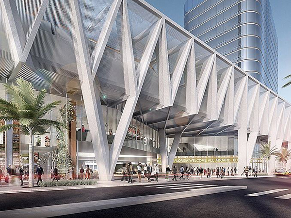 Miami, florida, SOM, hub, transportation hub, railway, multi-modal, iconic, Skidmore, Owings & Merrill LLP. All Aboard Florida's passenger stations , Fort Lauderdale, West Palm Beach