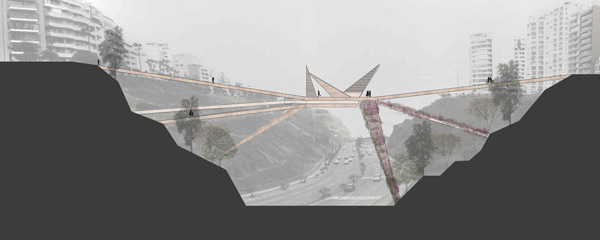 Void, peru, Miraflores – Barranco footbridge, OOIIO Architecture, bridge, iconic, landmark, depression, Lima