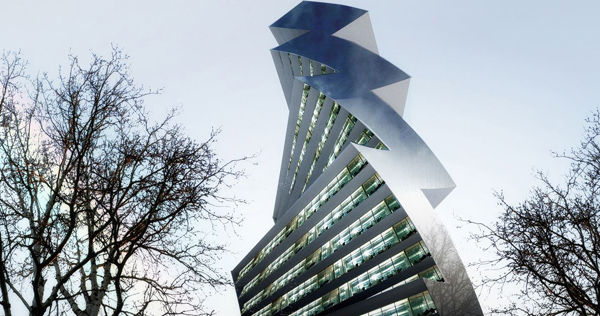 Twilt tower, skyscraper, eur, rome, Italy, paolo ventuella architects, sustainable, phorovoltaic, progressive, tilted, twist