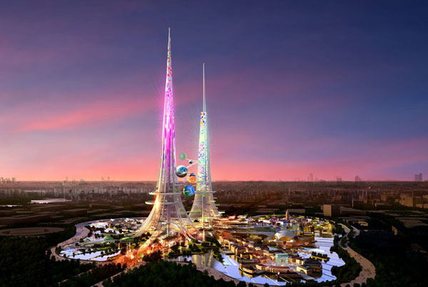 Wuhan, China, Chetwoods, Britain, sustainable, towers, dualist, photovoltaic, thermal chimneys, wind turbines