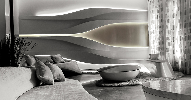 parametric undulating living room in delhi  india