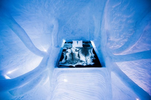 Handout photo provided by London art-architecture studio Atmos and shows 'Dreamscape', a new room at the Ice Hotel Sweden.