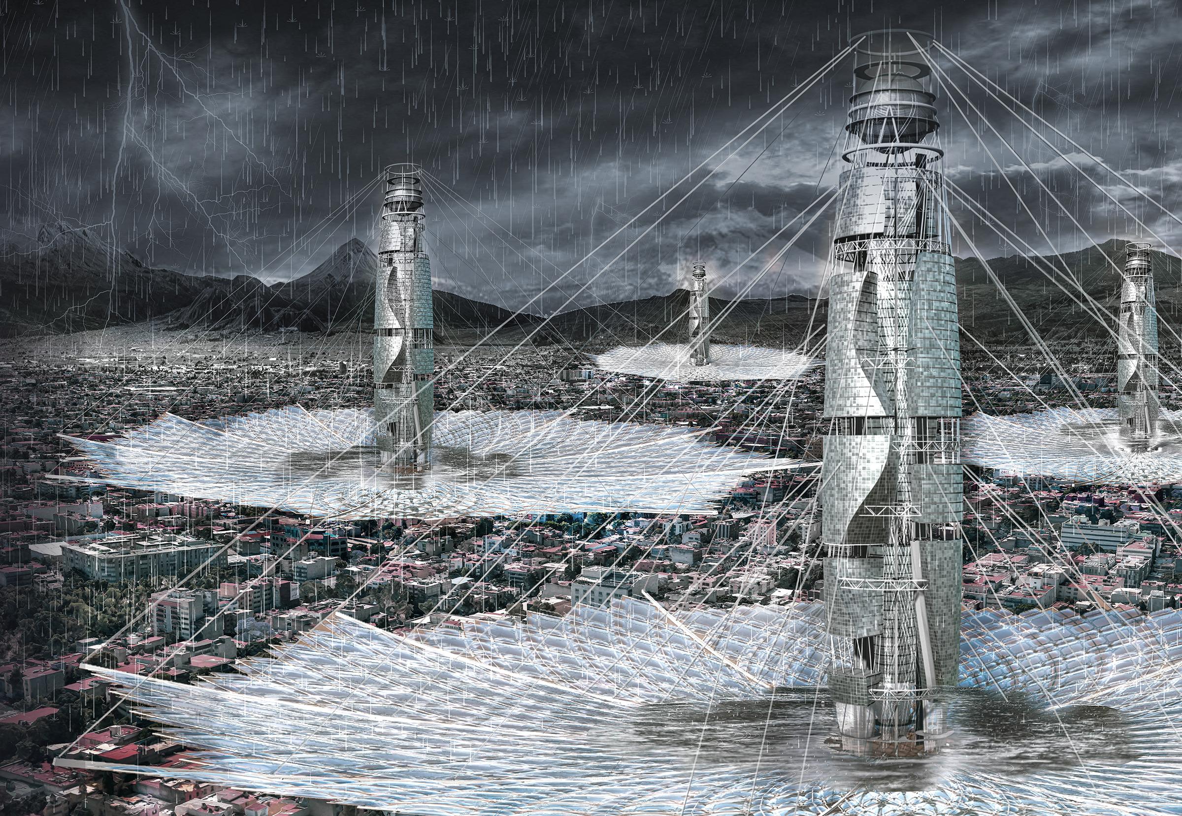 Lluvioso skyscraper rascacielos del futuro